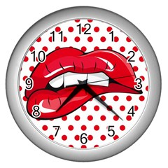 Sexy Lips Red Polka Dot Wall Clocks (silver)  by Mariart