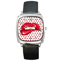Sexy Lips Red Polka Dot Square Metal Watch