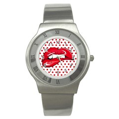 Sexy Lips Red Polka Dot Stainless Steel Watch