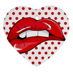 Sexy Lips Red Polka Dot Heart Ornament (two Sides)