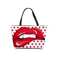 Sexy Lips Red Polka Dot Shoulder Handbags by Mariart