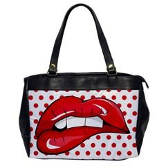 Sexy Lips Red Polka Dot Office Handbags by Mariart