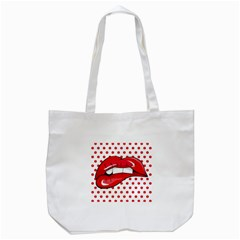 Sexy Lips Red Polka Dot Tote Bag (white)