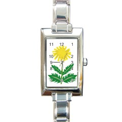Sunflower Floral Flower Yellow Green Rectangle Italian Charm Watch