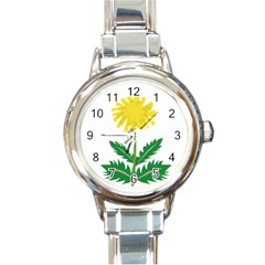Sunflower Floral Flower Yellow Green Round Italian Charm Watch