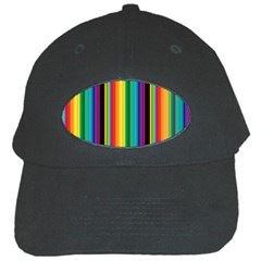 Multi Colored Colorful Bright Stripes Wallpaper Pattern Background Black Cap by Nexatart