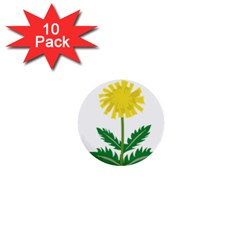 Sunflower Floral Flower Yellow Green 1  Mini Buttons (10 Pack)