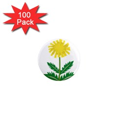 Sunflower Floral Flower Yellow Green 1  Mini Magnets (100 Pack)