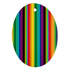 Multi Colored Colorful Bright Stripes Wallpaper Pattern Background Ornament (oval)
