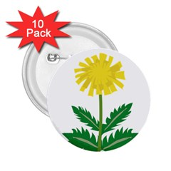 Sunflower Floral Flower Yellow Green 2 25  Buttons (10 Pack)  by Mariart