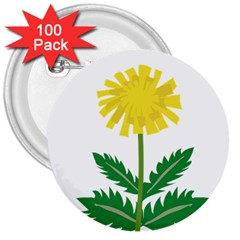 Sunflower Floral Flower Yellow Green 3  Buttons (100 Pack)