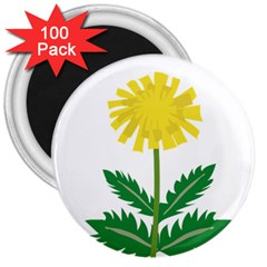 Sunflower Floral Flower Yellow Green 3  Magnets (100 Pack)