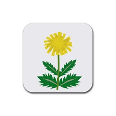 Sunflower Floral Flower Yellow Green Rubber Square Coaster (4 Pack)