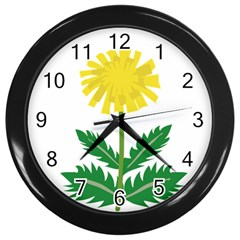 Sunflower Floral Flower Yellow Green Wall Clocks (black) by Mariart