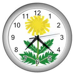 Sunflower Floral Flower Yellow Green Wall Clocks (silver)