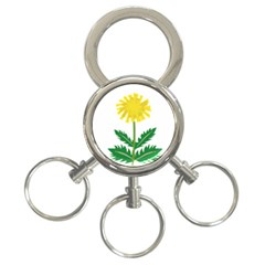 Sunflower Floral Flower Yellow Green 3 Ring Key Chains