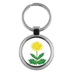 Sunflower Floral Flower Yellow Green Key Chains (round)