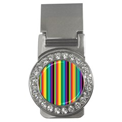 Multi Colored Colorful Bright Stripes Wallpaper Pattern Background Money Clips (cz)  by Nexatart
