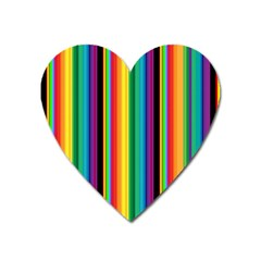 Multi Colored Colorful Bright Stripes Wallpaper Pattern Background Heart Magnet by Nexatart