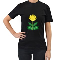Sunflower Floral Flower Yellow Green Women s T Shirt (black) (two Sided)