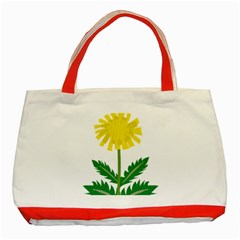 Sunflower Floral Flower Yellow Green Classic Tote Bag (red)