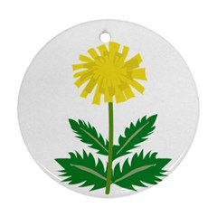 Sunflower Floral Flower Yellow Green Round Ornament (two Sides)