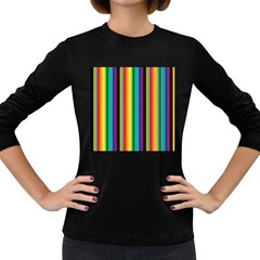 Multi Colored Colorful Bright Stripes Wallpaper Pattern Background Women s Long Sleeve Dark T Shirts
