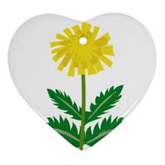 Sunflower Floral Flower Yellow Green Heart Ornament (two Sides)