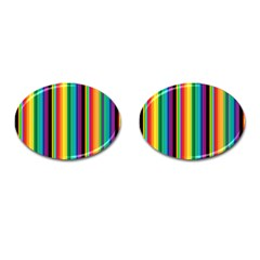 Multi Colored Colorful Bright Stripes Wallpaper Pattern Background Cufflinks (oval) by Nexatart