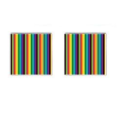 Multi Colored Colorful Bright Stripes Wallpaper Pattern Background Cufflinks (square) by Nexatart