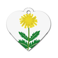 Sunflower Floral Flower Yellow Green Dog Tag Heart (one Side)