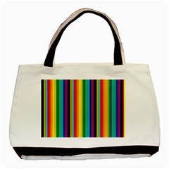 Multi Colored Colorful Bright Stripes Wallpaper Pattern Background Basic Tote Bag by Nexatart