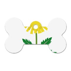 Sunflower Floral Flower Yellow Green Dog Tag Bone (two Sides)