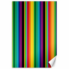 Multi Colored Colorful Bright Stripes Wallpaper Pattern Background Canvas 24  X 36  by Nexatart