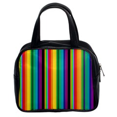 Multi Colored Colorful Bright Stripes Wallpaper Pattern Background Classic Handbags (2 Sides)