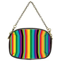 Multi Colored Colorful Bright Stripes Wallpaper Pattern Background Chain Purses (two Sides)  by Nexatart