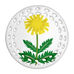 Sunflower Floral Flower Yellow Green Ornament (round Filigree)