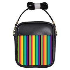 Multi Colored Colorful Bright Stripes Wallpaper Pattern Background Girls Sling Bags by Nexatart