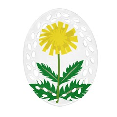 Sunflower Floral Flower Yellow Green Oval Filigree Ornament (two Sides)