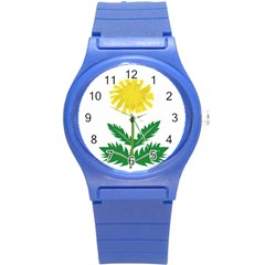 Sunflower Floral Flower Yellow Green Round Plastic Sport Watch (s) by Mariart