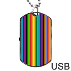 Multi Colored Colorful Bright Stripes Wallpaper Pattern Background Dog Tag Usb Flash (two Sides)