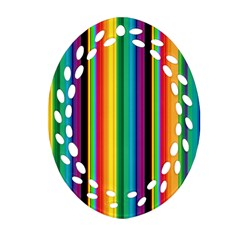 Multi Colored Colorful Bright Stripes Wallpaper Pattern Background Oval Filigree Ornament (two Sides)