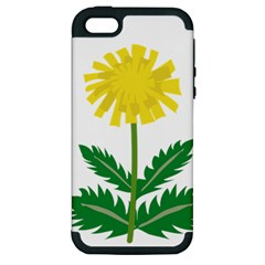 Sunflower Floral Flower Yellow Green Apple Iphone 5 Hardshell Case (pc+silicone)