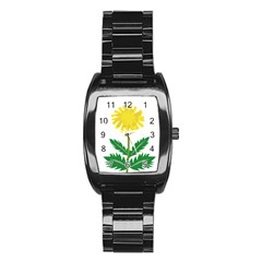 Sunflower Floral Flower Yellow Green Stainless Steel Barrel Watch