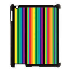 Multi Colored Colorful Bright Stripes Wallpaper Pattern Background Apple Ipad 3/4 Case (black)
