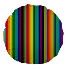 Multi Colored Colorful Bright Stripes Wallpaper Pattern Background Large 18  Premium Round Cushions