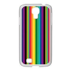 Multi Colored Colorful Bright Stripes Wallpaper Pattern Background Samsung Galaxy S4 I9500/ I9505 Case (white) by Nexatart
