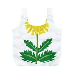 Sunflower Floral Flower Yellow Green Full Print Recycle Bags (m)