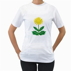 Sunflower Floral Flower Yellow Green Women s T Shirt (white)