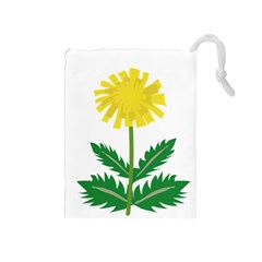 Sunflower Floral Flower Yellow Green Drawstring Pouches (medium)